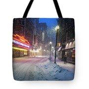 Paramount Snowstorm Boston Ma Washington Street Tote Bag