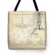 Parchment Paris - City Of Light Chandelier Candelabra Chalk Tote Bag