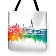Pardubice Skyline City Color Tote Bag