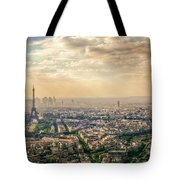 Paris Eiffel Skyline And Cityscape Aerial View At Sunset From Montparnasse Tower Observation Deck  Tote Bag
