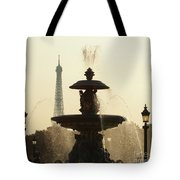 Paris Fountain In Sepia Tote Bag