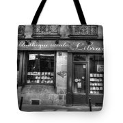 Paris France Book Store Library Black And White Tote Bag