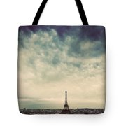 Paris, France Skyline With Eiffel Tower. Dark Clouds, Vintage Tote Bag