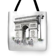 Paris, France  Triumphal Arch  Illustration Tote Bag