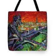 Paris Gargoyle Contemplation Textural Impressionist Stylized Cityscape Tote Bag