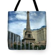 Paris Hotel And Bellagio Fountains Tote Bag