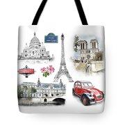 Paris Landmarks. Illustration In Draw, Sketch Style.  Tote Bag