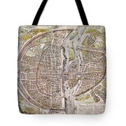 Paris Map, 1581 Tote Bag