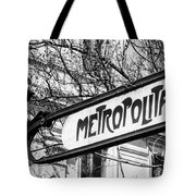 Paris Metro Sign Bw Tote Bag