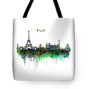 Paris Skyline Watercolor Tote Bag