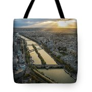 Paris Sunrays Dusk Along The Seine Tote Bag