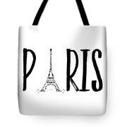 Paris Typography Tote Bag