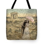 Paris With A Kiss Photo Collage Tote Bag