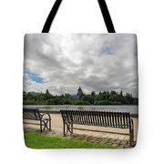 Park Bench Along Capitol Lake In Olympia Washington Tote Bag