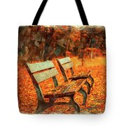 Park Bench In Fall Tote Bag