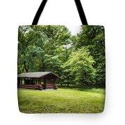 Park Shelter In Lush Forest Landscape Tote Bag