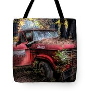 Parked On A Country Road Oil Painting Tote Bag