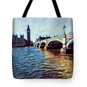 Parliament Across The Thames Tote Bag