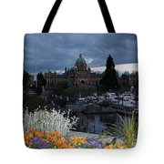 Parliament Building In Victoria At Dusk Tote Bag