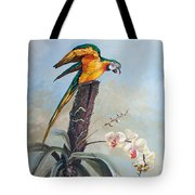 Parrot And Orchid Tote Bag
