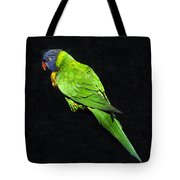Parrot In Black Tote Bag