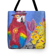 Parrot In Gear Tree Tote Bag