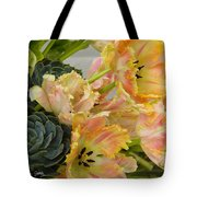 Parrot Tulips And Desert Succulents Tote Bag