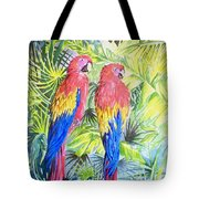 Parrots In Jungle Tote Bag