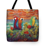 Parrots On Sunset Beach Tote Bag