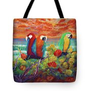 Parrots On The Beach Painterly Tote Bag