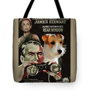 Parson Russell Terrier Art Canvas Print - Rear Window Movie Poster Tote Bag