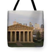 Parthenon With Nashville Skyline  Tote Bag