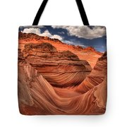 Partly Cloudy At The Wave Tote Bag
