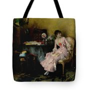 Pascal Adolphe Jean Dagnan-bouveret 1852 - 1929   Woman In Pink With Child Tote Bag