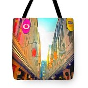 Passage Between Colorful Buildings Tote Bag