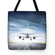 Passenger Airplane Taking Off On Runway Tote Bag