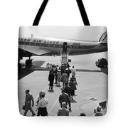 Passengers Boarding A Plane Tote Bag