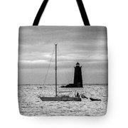 Passing Whaleback Light In The Early Morning Tote Bag