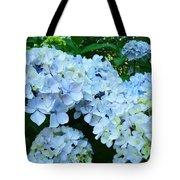 Pastel Blue Hydrangea Flowers Green Garden Floral Tote Bag