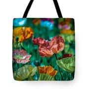 Pastel Poppies On Blue Haze Tote Bag