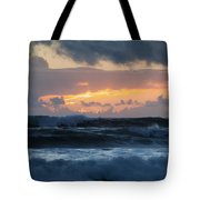 Pastel Sunset Over Stormy Waves Tote Bag