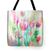 Pastel Tulips Collage Tote Bag