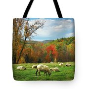 Pasture - New England Fall Landscape Sheep Tote Bag