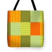 Patchwork Patterns - Orange And Olive Tote Bag