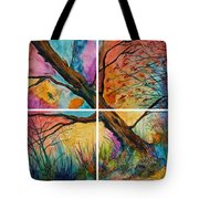 Patchwork Sky Tree Painting With Colorful Sky Tote Bag