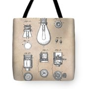 patent art Edison 1890 Lamp base Tote Bag