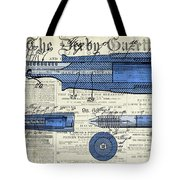 Patent, Old Pen Patent,blue Art Drawing On Vintage Newspaper Tote Bag