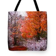 Path In Fall With Early Snowfall Tote Bag