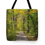 Path In The Woods During Fall Leaf Season Tote Bag