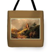 Path Next To The Ruins Of Belloque Castle L B With Decorative Ornate Printed Frame. Tote Bag